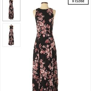 Flynn Skye Black Maxi Dress w/ blush florals